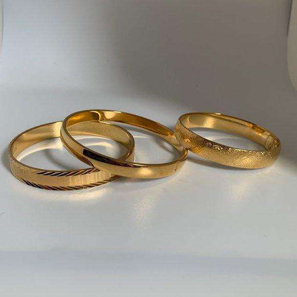 Monet Gold Tone Bracelet Trio